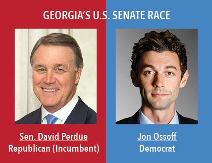 Georgias U.S. Senate Race: Senator David Perdue, Republican (Incumbent) and Jon Ossof, Democrat