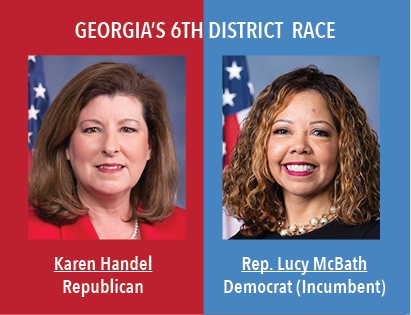 Georgias 6th District Race: Karen Handel, Republican and Rep. Lucy McBath, Democrat, Incumbent.