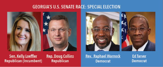 Georgias U.S. Senate Race: Special Election. Senator Kelly Loeffler, Republican Incumbent, Representative Doug Collins, Republican. Rev. Raphael Warnock, Democrat and Ed Tarver, Democrat.