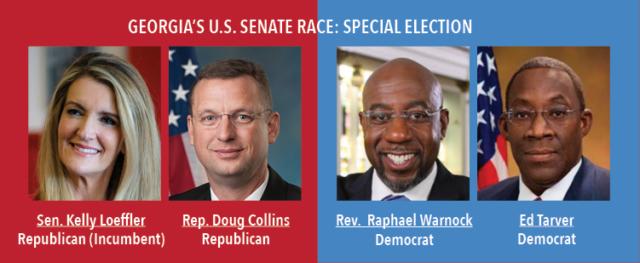 Georgias U.S. Senate Race: Special Election. Senator Kelly Loeffler, Republican Incumbent, Representative Doug Collins, Republican. Rev. Raphael Warnock, Democrat and Ed Tarver, Democrat.