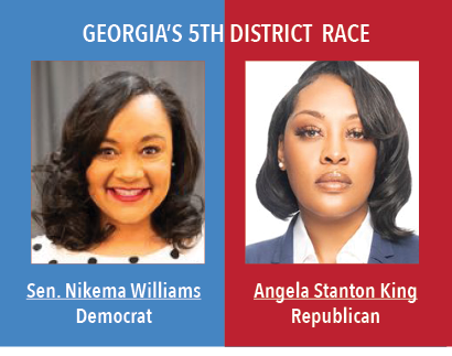 Georgias 5th Disctrict Race: Senator Nikema Williams, Democrat. Angela Stanton King, Republican.