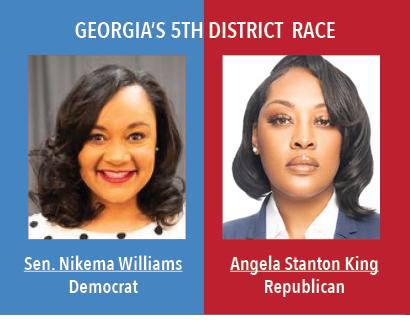 Georgias 5th Disctrict Race: Senator Nikema Williams, Democrat. Angela Stanton King, Republican.