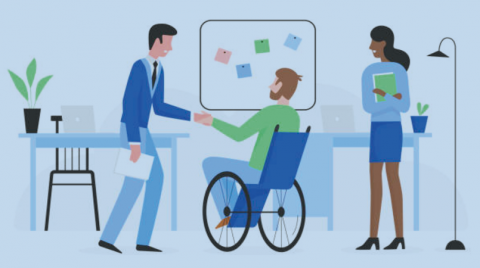 Graphic of a man in a wheelchair in a workspace shaking hands with another coworker.