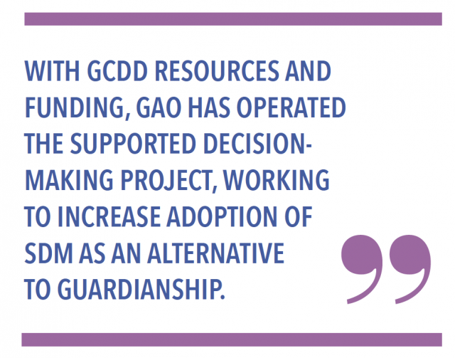 With GCDD resources and funding, GAO has operated the Supported Decision-Making project, working to increase adoption of SDM as an alternative to guardianship.