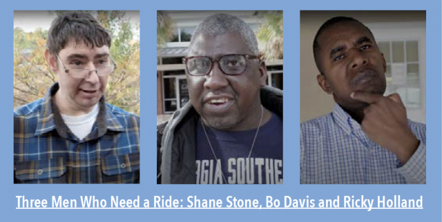 Three men who need a ride: Shane Stone, Bo Davis and Ricky Holland