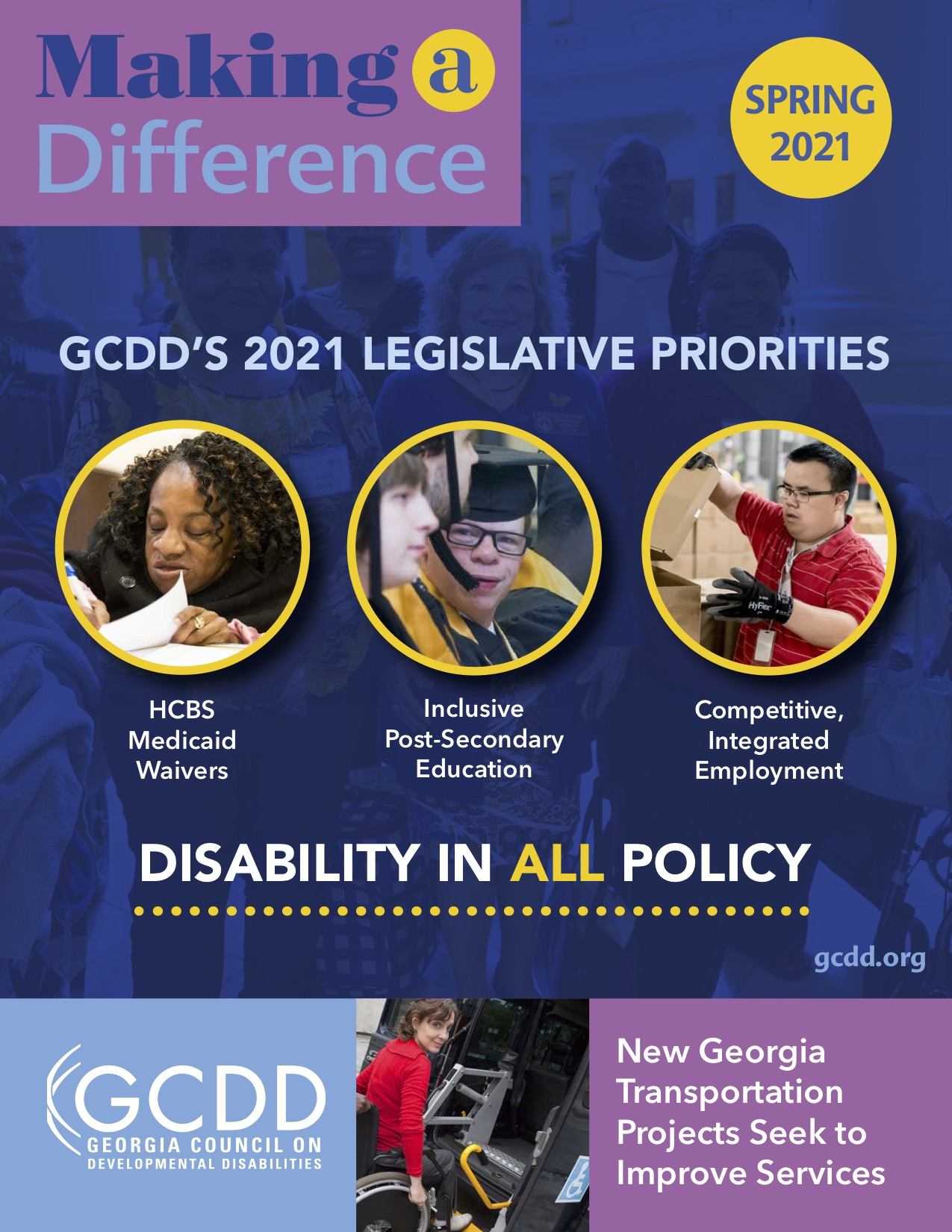 A group of images of people with disabilities representing GCDD's Legislative Priorities