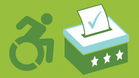 Green banner with the accessible icon on the left, and a voter box on the right. Both are also in a darker green color.