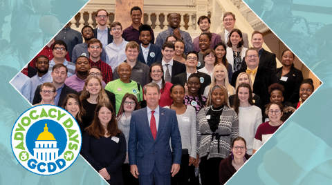 Light blue banner with a diamond shaped photo on the right hand side, a group of people posing together with Governor Kemp. GCDD's Advocacy Days logo is on the right hand side as well.