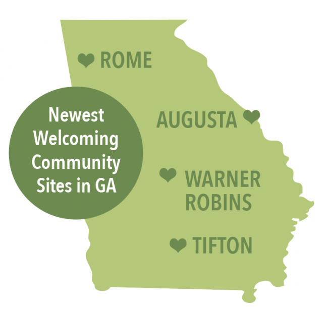 Newest Welcoming Community Sites in GA: Rome, Augusta, Warner Robins, Tifton.