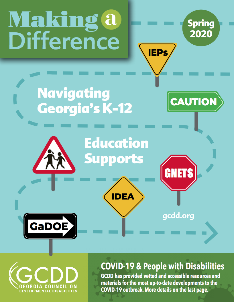 Graphic with teal background and route of Georgia K-12 and GCDD logo