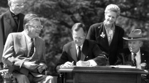 Picture of signing of the Americans with Disabilities Act
