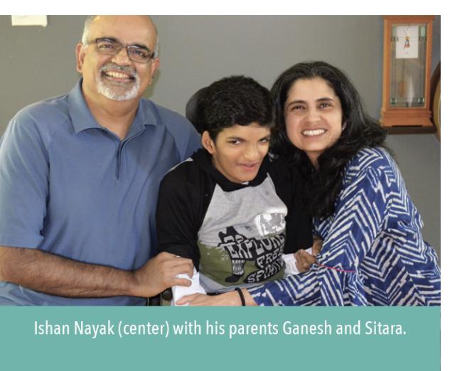 Ishan Nayak, center, with his parents Ganesh and Sitara.