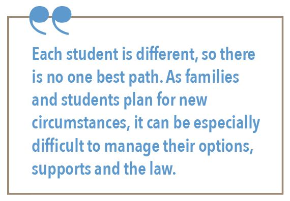 Each student is different, so there is no one best path. As families and students plan for new circumstances, it can be especially difficult to manage their options, supports and the law.