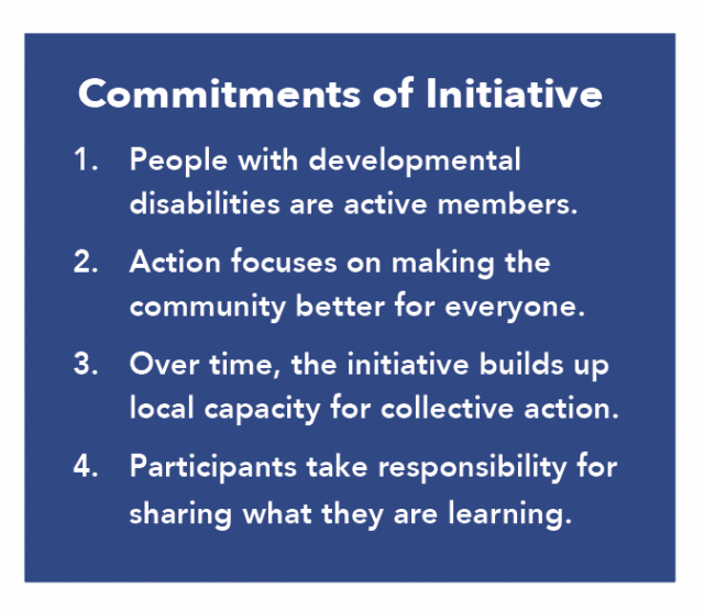 Commitments of Initiative: 1.) People with developmental disabilities are active members. 2) Action focuses on making the community better for everyone. 3.) Over time, the initiative builds up local capacity for collective action. 4.) Participants take responsibility for sharing what they are learning.