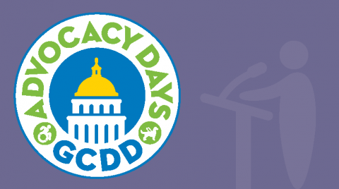 Purple banner with the GCDD Advocacy Days Logo on the right.