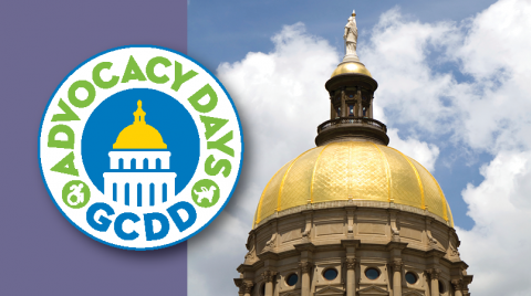 Purple banner with a photo of the Georgia State Capitol on the right. GCDD Advocacy Days Logo included as well.