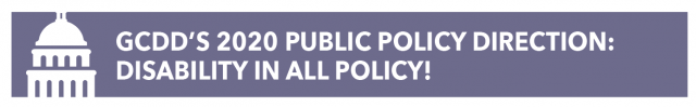 GCDD's 2020 Public Policy Direction:  Disability in ALL Policy!