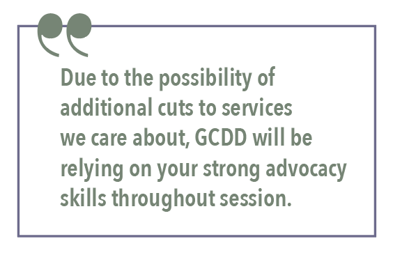 Due to the possibility of additional cuts to services we care about, GCDD will be relying on your strong advocacy skills throughout session.