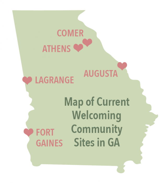 Map of Current Welcoming Community Sites in GA: Comer, Athens, Lagrange, Augusta, Fort Gaines.