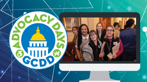 Computer image with photo of 4 women with advocacy day logo