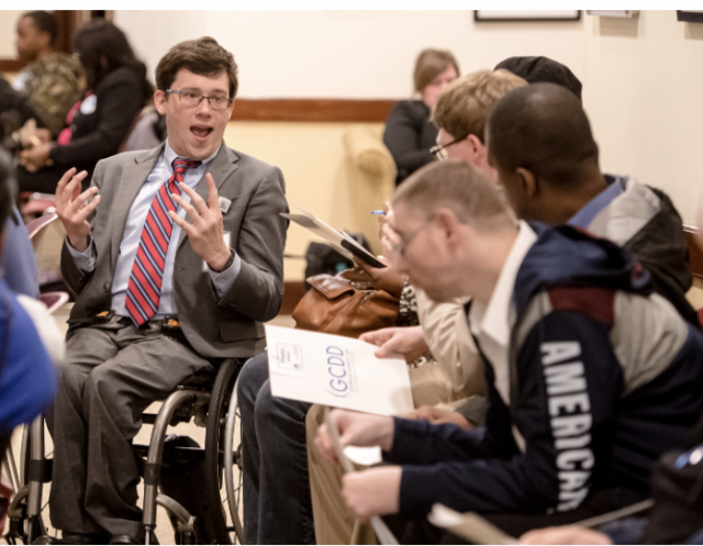Charlie Miller engages with advocates at the 2020 Advocacy Days.