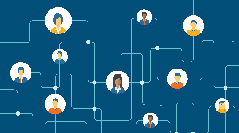 Graphics with blue background and people connected