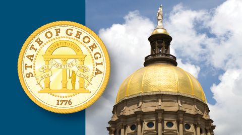 Georgia State Capitol with logo for state of Georgia