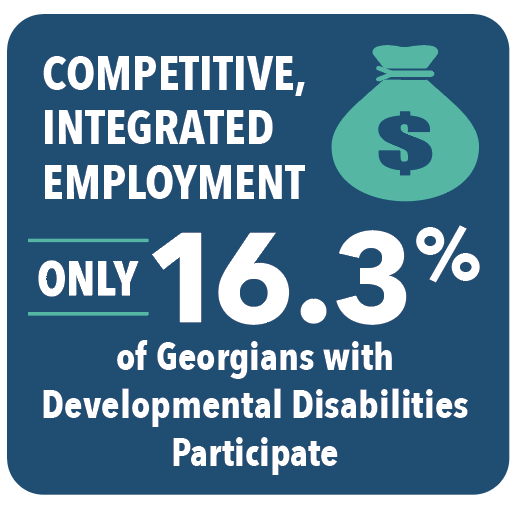 Competitive, integrated employment only 16.3% of Georgians with Developmental Disabilities Participate