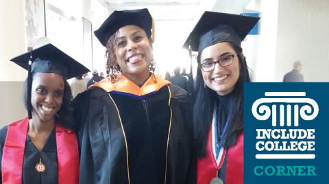 """Include College Corner"" logo is on the lower right hand corner. Photo is of three women wearing graduation attire posing together, smiling."