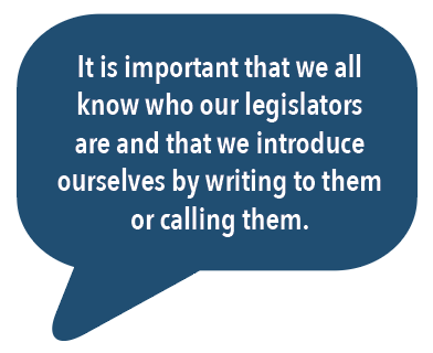 It is important that we all know who our legislators are and that we introduce ourselves by writing to them or calling them.