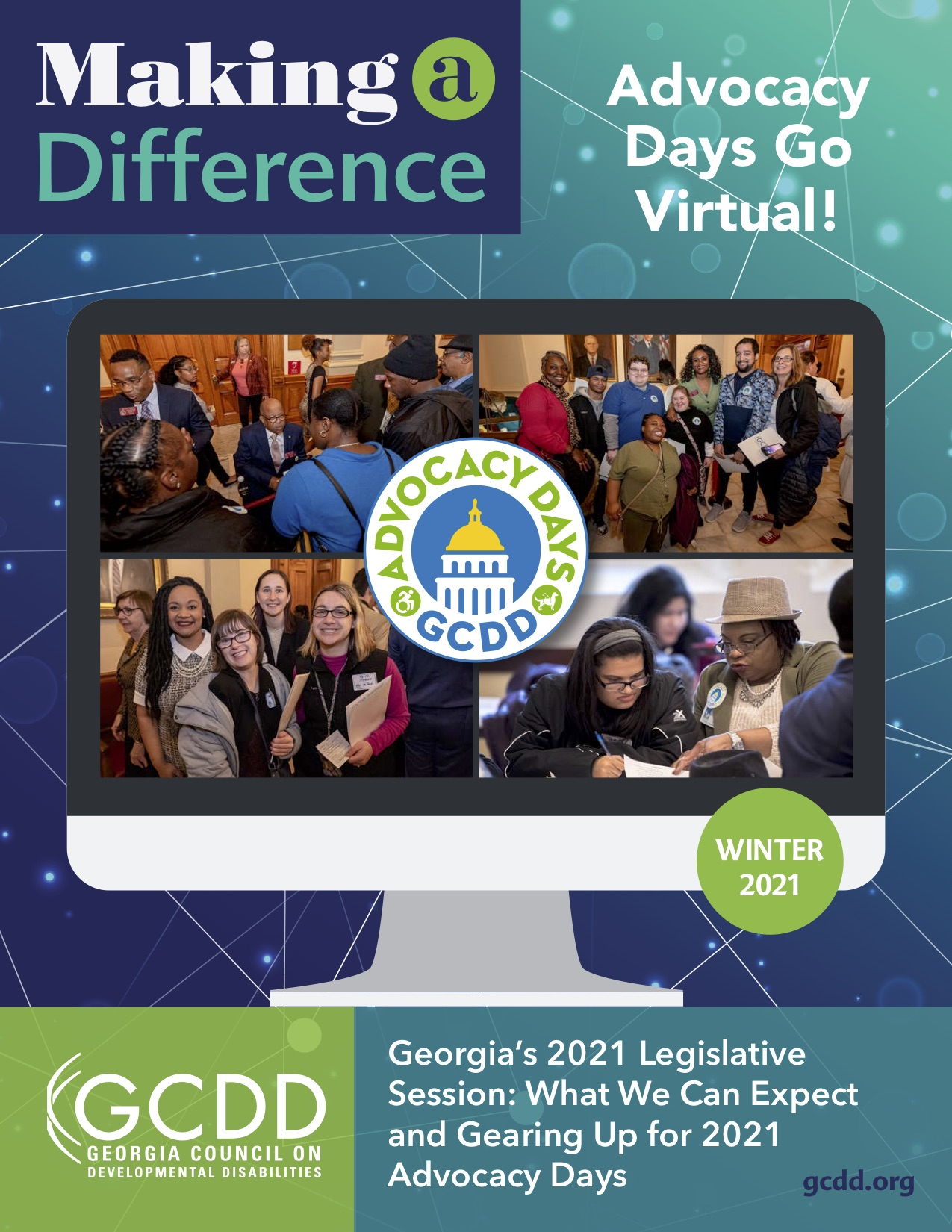 Image of a computer screen with four group pictures of diverse Georgians from previous advocacy days with a logo